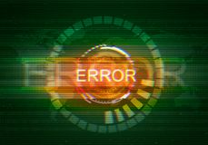 Abstract illustration of distorted display screen. Error inscription on technology round interface. Glitch effect background. Conceptual image of vhs dead Stock Image