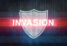 Abstract illustration of distorted display screen with red light. Spot and shield icon. Attacked inscription in technology interface. Glitch effect background Royalty Free Stock Photo