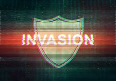 Abstract illustration of distorted display screen with red light. Spot and shield icon. Attacked inscription in technology interface. Glitch effect background Royalty Free Stock Photography
