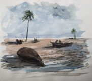 Exotic seashore watercolor. Royalty Free Stock Images