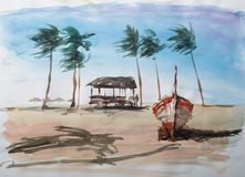 Exotic seashore watercolor. Stock Photos