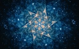 Abstract illustration of a fantastic star with a flower inside against a fabulous blue starry sky.  royalty free illustration