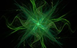 Abstract illustration of a fantastic symbol of a green star with wavy rays on a black background for graphic and game design Royalty Free Stock Images