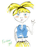 Abstract illustration of fashionable blond girl. Royalty Free Stock Photography