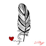 Abstract illustration with a feather. Vector Royalty Free Stock Photos