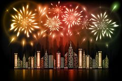 Fireworks exploding in night sky over downtown city with reflection in water in orange, red and green shades. Abstract illustration of fireworks exploding in Royalty Free Stock Photos