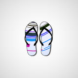 Abstract illustration on flip flops Stock Images