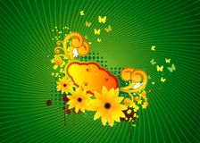 Abstract illustration with flowers and butterflies Stock Photos