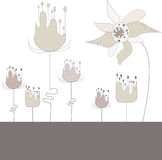 Abstract illustration with flowers. Vector background with strange flowers for your design Stock Illustration