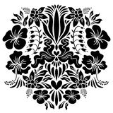 Abstract illustration with flowers. Vector silhouette isolated on white background royalty free illustration
