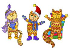 Abstract  Illustration with funny cartoon cats dressed in different seasons, autumn, winter and summer, isolated on white backgrou. Illustration with funny Royalty Free Stock Photography