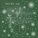 Abstract illustration of funny snowman. Happy new year. Vector Royalty Free Stock Photography