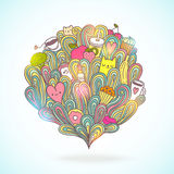 Abstract illustration about girl dreams and wishes. With doodles, cat, coffee, tea, cupcake, broccoli, donut, lipstick Royalty Free Stock Photography