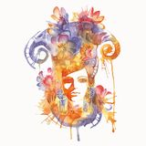 Abstract illustration of a girl. Vector watercolor woman Royalty Free Stock Photos