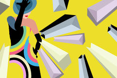 Abstract Illustration Girl With Shopping Bags Royalty Free Stock Photos