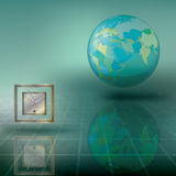 Abstract illustration with globe and clock Stock Photo