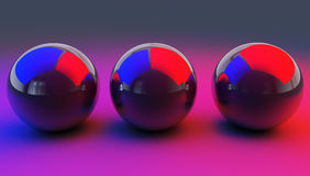 Abstract illustration of glossy spheres, 3d render Royalty Free Stock Photo