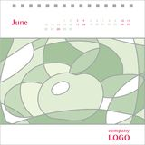 Abstract illustration with green apple as template for decoratin. G calendar, June , vector vector illustration
