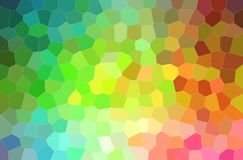 Abstract illustration of green, blue, orange and pink bright middle size hexagon background. Abstract illustration of green, blue, orange and pink bright middle stock illustration