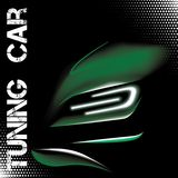Abstract illustration with green tuning sports car Royalty Free Stock Photos