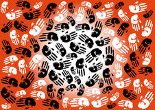 Abstract illustration with hand prints Stock Photography