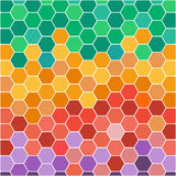 Abstract illustration with hexagonal colored honey cells Royalty Free Stock Image