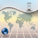 Abstract illustration with hourglass earth map Royalty Free Stock Images