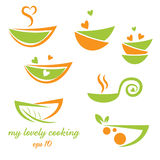 Abstract illustration icon of eco bowl with leaf Royalty Free Stock Image