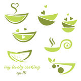 Abstract illustration icon of eco bowl  leaf and heart Stock Photo