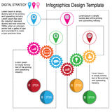 Abstract  Illustration of infographics design with gear and icons. Royalty Free Stock Photos