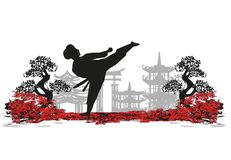 Abstract illustration of karate fighter Stock Photography