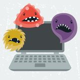 Abstract illustration laptop infected with viruses. Abstract illustration laptop infected with angry viruses vector illustration