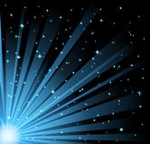 Abstract illustration of light beams and stars. Vector abstract illustration of blue light beams and stars on black sky background. EPS 10 Royalty Free Stock Image