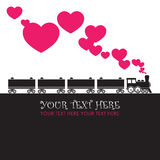 Abstract illustration with locomotive and hearts. Royalty Free Stock Images