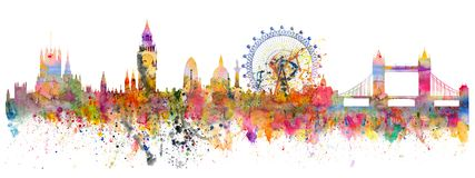 Abstract illustration of the London skyline. Watercolor stains and brush strokes Royalty Free Stock Photo
