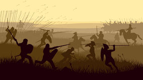 Abstract illustration of medieval battle. stock illustration