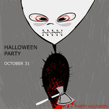 Abstract illustration of a monster with an ax on H. The modern poster on the halloween party. Vector stock illustration