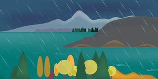 Abstract illustration of mountain landscape with forest and lake. Under cloudy sky with clouds and rain - vector royalty free illustration