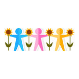 Abstract illustration of multicolor people silhouette. Royalty Free Stock Images
