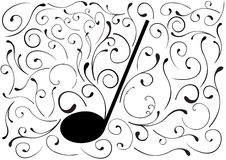 Abstract illustration of a music note. On white Stock Photos