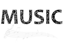 Abstract illustration of the music word with music Royalty Free Stock Image