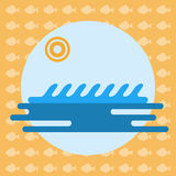 Abstract illustration with ocean water. And a sun in a round frame, over an yellow background with fish. Digital vector image Royalty Free Stock Image