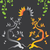 Abstract illustration with old trees. Two stylized tree on a gray background Stock Images