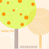 Abstract illustration of an orange tree. Geometric background with place for your text Royalty Free Stock Image
