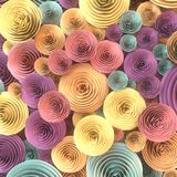 Abstract Illustration of paper-crafted, quilling flowers with different shades of spring colors. 3d rendering Royalty Free Stock Photos