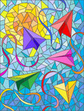 Abstract illustration of paper planes on sky background. Illustration in stained glass style with paper planes and ribbons on background of sky and sun Royalty Free Stock Images