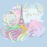 Abstract illustration Paris, striped watercolor background with Eiffel Towe stock illustration