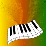 Abstract illustration of piano keys with a whirlwind of musical notes. Vector illustration Stock Photos