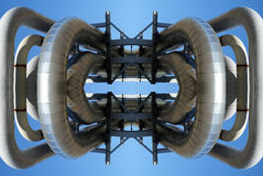 Abstract illustration of pipes against blue sky Royalty Free Stock Photos