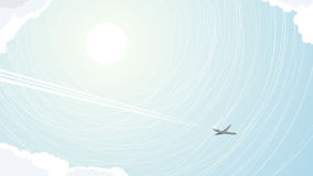 Abstract illustration of plane among clouds. Stock Images